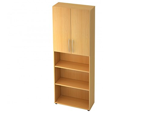 Aktenschrank DR-Büro Serie V45 - Büroschrank/Regal mit 2 Türen - 80 x 33 x 228,8 cm - 5 Farben - 2 x 3 OH, Farbe Büromöbel:Buche -
