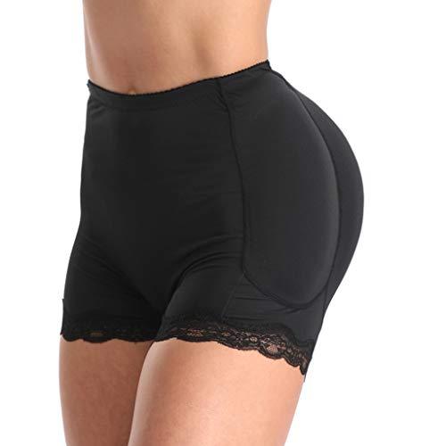 ZHANSANFM Dessous Damen Sexy Nahtlos Unterwäsche Höschen Fraueninnen Push Up Padded Fake Ass Panties Underwear Crotch Halter Lingerie Frauen Slips Hohe Taille Paket Hip Unterhose (XL, Schwarz)