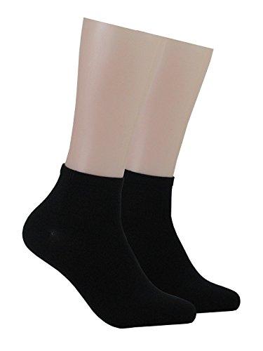 GROJADORI® 6 Paar Bambus Kurz - Socken mit Komfortbund Damen Herren, Schwarz 35-38 (Schwarz Bambus Damen)
