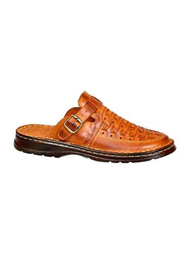 Herren Bequeme Sandalen Schuhe Mit Der Orthopadischen Einlage Aus Echtem Buffelleder Hausschuhe Modell 803/1 Braun