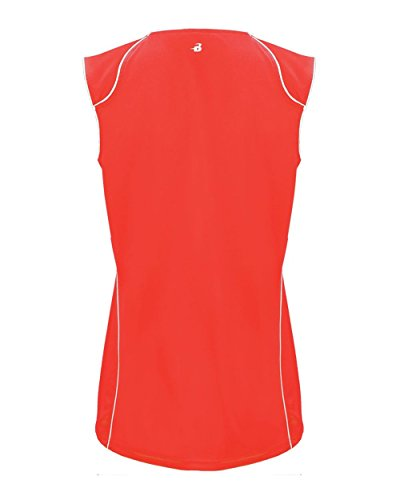 HIPI GOX Badger 6172 B-Core Ladies Curve Contrast Piping Athletic Jersey HOT CORAL/ WHITE