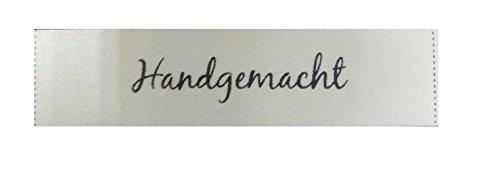 100Etiketten zum Aufnähen handgemacht- Text in Deutsch (Handgemachte Etiketten)