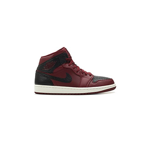 Nike Herren Air Jordan 1 Mid Basketballschuhe, Rot (Team re D Schwarz Summit Weiss 601), 42.5 EU (Sneaker Mid Basketball)