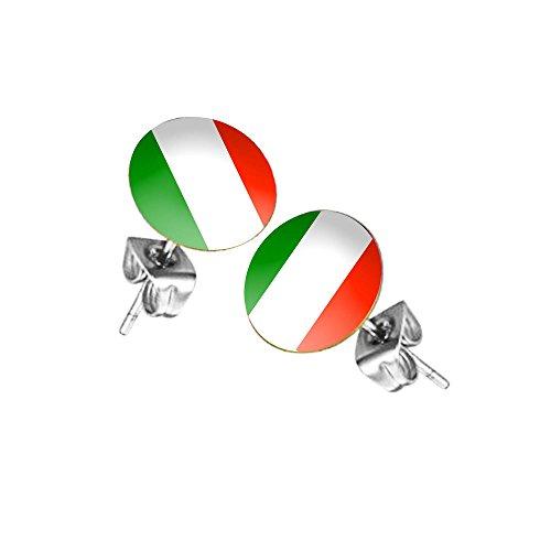 Piersando Ohrstecker Ohrringe Fahne Fussball EM & WM Länderflagge Fanartikel Land Flagge Schmuck Herren Damen Italien