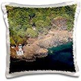 WA, San Juan Island. Lime Kiln Point lighthouse 16x16 inch Pillow Case