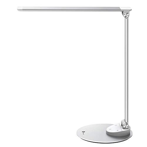 LED Schreibtischlampe Metall TaoTronics Tageslichtlampe, 5 Helligkeitsstufen und 5 Farbtemperaturen–3000K-6000K, ultradünne Aluminiumlegierung, berührungsempfindlich und blendfrei, Merkfunktion, USB-Ladeanschluss 5V 1A