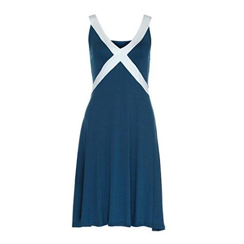 DOLDOA Frauen-Sommer-beiläufiges Sleeveless Abend-Partei-Kleid-Knielänge-Kleid,Marine (Größe: S Fehlschlag: 82-92cm / 32.3-36.2