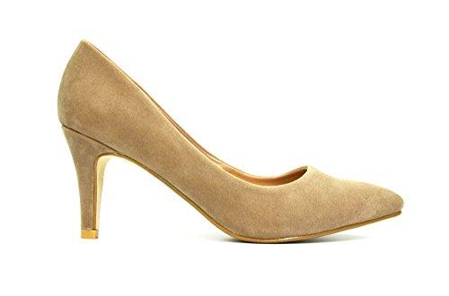 SHT29 * Escarpins Bout Pointu Style Daim Uni Chic Classique - Mode Femme (Taupe)