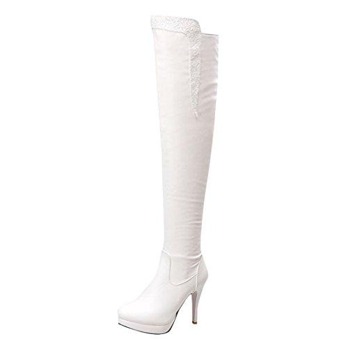 Botas 11 Planalto Outono Brancos Coxa Inverno Centímetros Com Saltos De De Altos Strass Salto Agulha Mulheres Sapatos Elegante Moda De Ye Botas dXwqxHvd