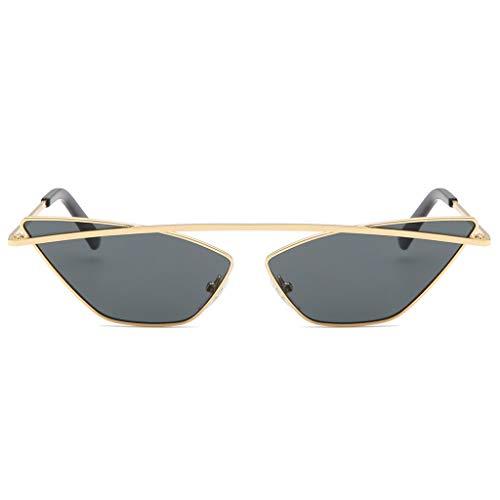 Lazzboy Damenmode Cat Eye Shade Sonnenbrille Integrierte Streifen Vintage Brille Damen Triangle Brillen Katzenauge Retro Jahrgang Sonnenbrillen(Grau)