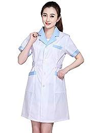ESENHUANG Abrigo Blanco Vestido De Manga Larga Médico Vestido De Médico Femenino Abrigo Blanco Manga Corta