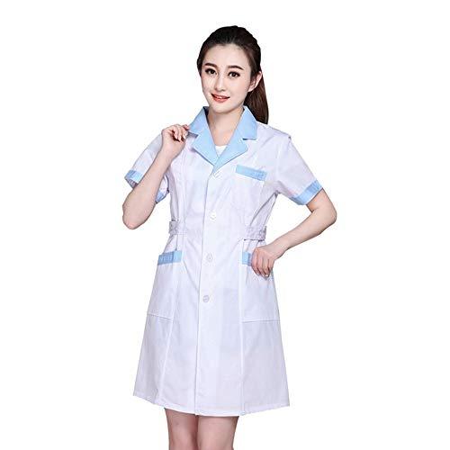 ESENHUANG Weiß Mantel Langarm Arzt Kleid Ärztin Kleid Weiß Mantel Kurzarm Männer Schlank Krankenschwester Anzug Kleidung ()