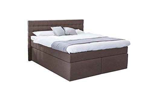 Betten Jumbo King Boxspringbett 180x200 cm mit Luxus 7-Zonen Taschenfederkernmatratze Visco-Topper in H3 Braun Hotelbett Doppelbett Polsterbett