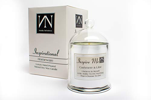 hs Vegan Kerzen mit Inspiriert Zitate von NN Inspirierende Geschenke-Sortiment an Düfte & Scents-Kaschmir & Lila 300g Silber Bell Dekor Idee ()