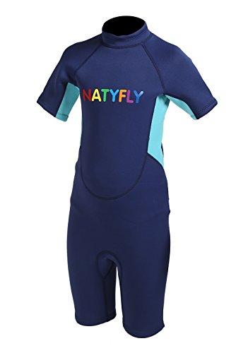 NATYFLY Kinder Neoprenanzug 2mm Neopren kurzer Neoprenanzug für Jungen Mädchen One Piece Badeanzug UV Schutz (Blau-kurz, 2XL Für Höhe 138-150cm) (Uv-schutz Neoprenanzug)