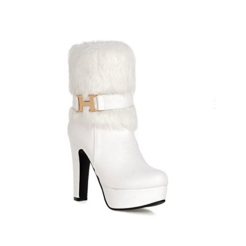 AllhqFashion Damen Niedrig-Spitze Weiches Material Hoher Absatz Stiefel mit Schnalle, Weiß, 31