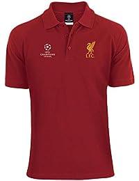 f6b89a92e0e Liverpool FC Red Mens Champions League Polo T-Shirt LFC Official