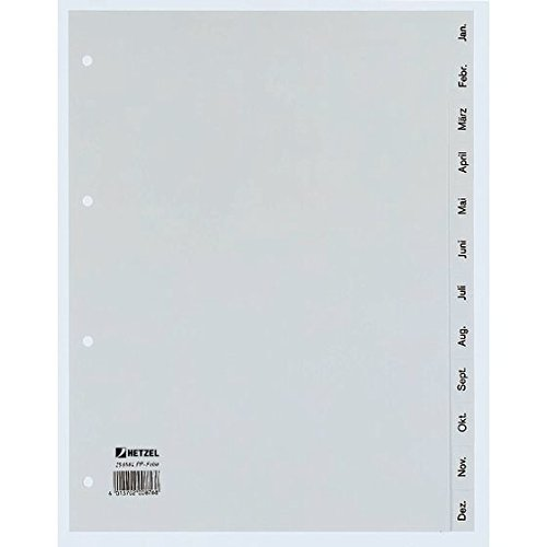 Preisvergleich Produktbild Rexel Monatsregister aus PP, A4 halbe Höhe, 1 Stück, 12 Blatt, grau