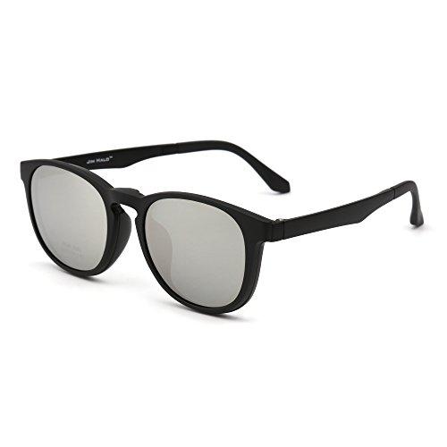 JIM HALO Retro Rund Polarisiert Magnetisch Sonnenbrille Clip auf Brille Rahmen Damen Herren(Matt-Schwarz/Spiegel Silber)
