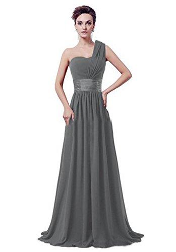BOMOVO Lang Chiffon Herz-Ausschnitt Abendkleid Ballkleid Brautjungfernkleid Grau