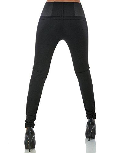 Damen Hose Treggings Skinny (Hochschnitt Röhre weitere Farben) No 15520 Schwarz