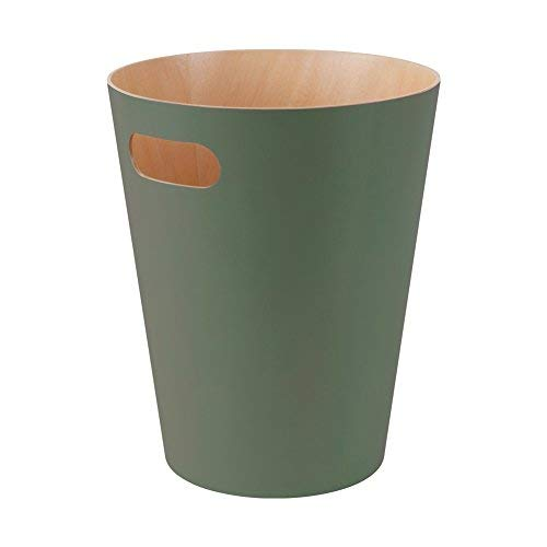 Umbra Woodrow Abfalleimer - Zweifarbiger Holz Papierkorb für Büro, Badezimmer, Wohnzimmer und Mehr, 7,5l Fassungsvermögen, Natur / Salbei Grün