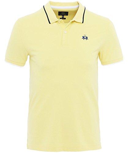 La Martina Herren Slim-Fit Poloshirt Piqué Mendez XXL Gelb (Pique Sport-shirt Stricken)
