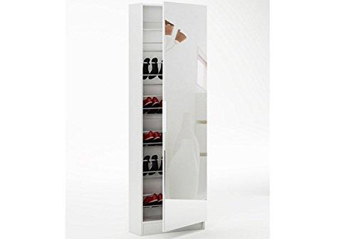 LIQUIDATODO  - Zapatero con espejo de 1 puerta moderno y barato de 180 cm en color blanco