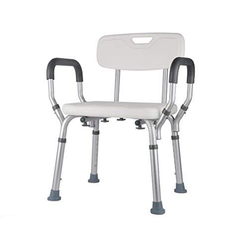 Höhe Duschstuhl (Badhocker Aluminiumlegierung Duschstuhl Behindertenhilfe Rutschfester Verstellbar in 6 Höhe für Senioren/Behinderte/Schwangere mit Rückenlehne und Handgriff Max. 200kg)
