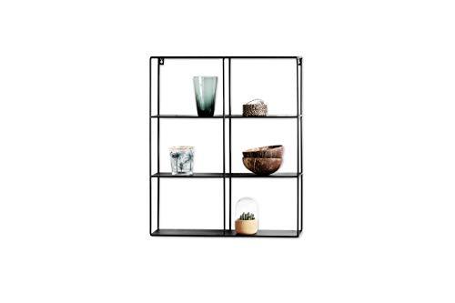 Lifa living mensola da muro rettangolare, mensole da muro design soggiorno, 3 ripiani stile vintage, porta oggetti, foto, legno e metallo nero