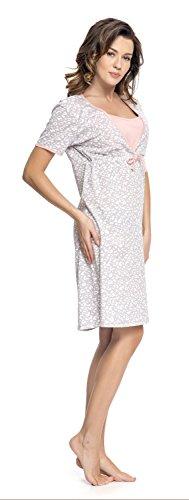 dn-nightwear Damen Stillnachthemd ( Weitere Farben) Grau Pink