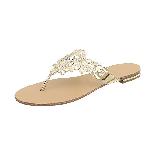 Ital-Design Zehentrenner Damenschuhe Blockabsatz Sandalen Sandaletten Gold 37-45