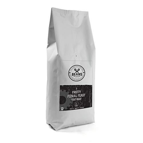 Granos de café tostado claro, 1kg, mezclados y tostados especialmente para las cafeteras automáticas con molinillo, mezcla Fruity Floral Feast, Beans for Machines