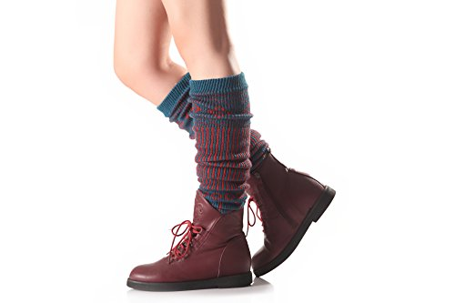 Butterme Frauen Knie Hohe Häkeln Strickbein Wärmer Vertikale Streifen Stiefel Manschetten für Mädchen Damen (Blau) (Knit-streifen-stulpen)