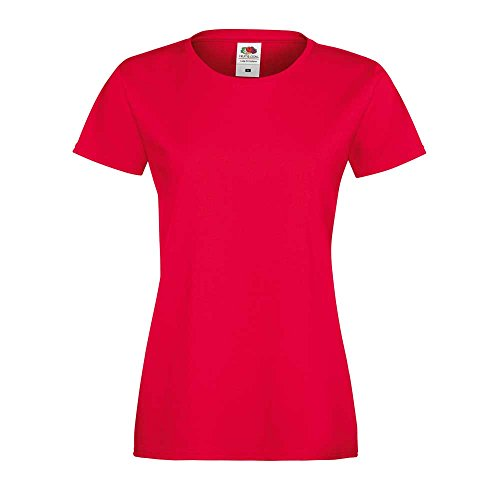 Fruit of the Loom Ladies Lady-fit Sofspun Fashion Fit Cotton T Shirt red