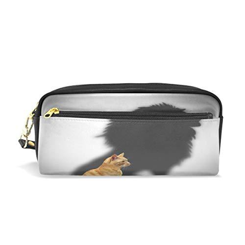 Pouch Federmappe mit Reißverschluss Große Make-up Tasche Katze mit Löwe Shadow Pencil-Bag Bleistift Box für Jungen und Mädchen Kinder Schulbedarf