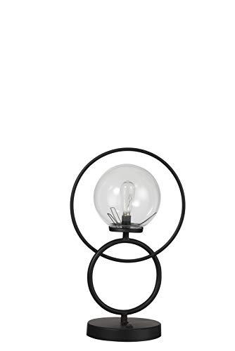 LAMPE LED 2 ANNEAUX METAL/VERRE NOIR (27x17x42cm) JOLIPA JLINE 92547