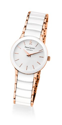 Pierre Lannier 014G900 - Reloj analógico de cuarzo para mujer, correa de cerámica color blanco