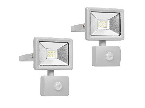 Lot de 2 Spot LED avec détecteur de mouvement et Smart de raccordement, 10 W, aluminium, IP44, Smartwares