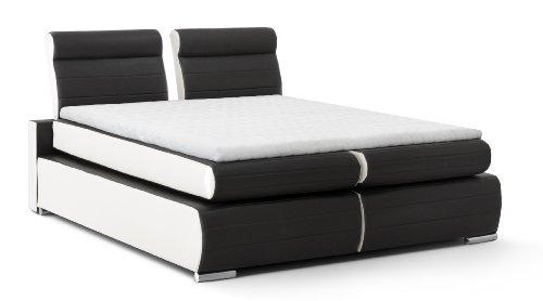 Boxspringbett Monaco, 180x200 cm, PU Kunst-Leder, schwarz/weiß