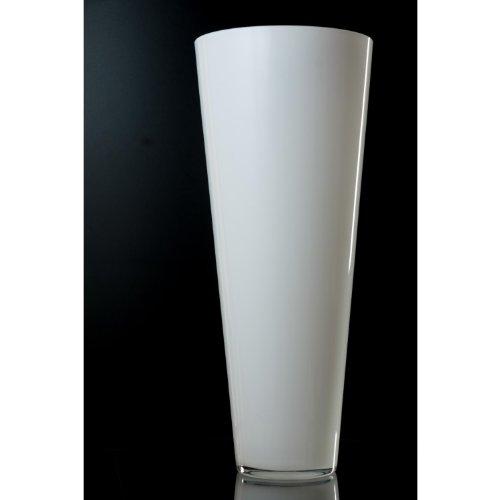 hundeinfo24.de Konische Glasvase ANNA, weiß, 43 cm, Ø 18 cm – Blumenvase / Tischvase – INNA Glas