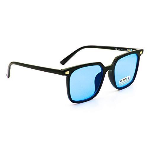 Isurf eyewear occhiali da sole marca modello papillon lente chiara scura da sera quadrato con montatura retta non avvolgente (nero lente blu trasparente)