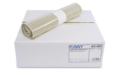 Funny - Sacchi della spazzatura in LDPE (polietilene a bassa densità) rigenerato, in rotolo, tipo 60, 1 x 250 pezzi, 120 l, colore: Trasparente, plastica