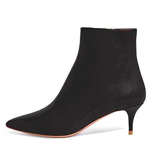 Lutalica BX002 Frauen Spitzschuh Low Kitten Heel Reißverschluss Komfort Kleid Stiefeletten Schuhe Matt Schwarz Größe 40 EU (Low Heel Frauen Kleid Schuhe Für)