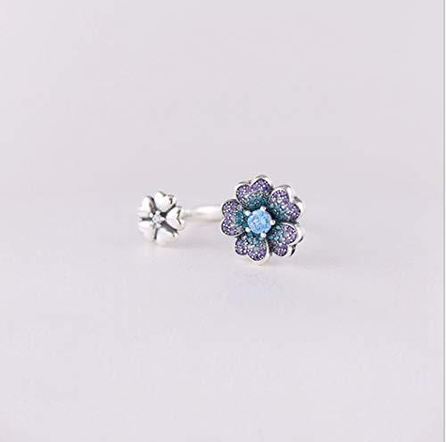 YOYOYAYA Ring 925 Sterling Silber Weiblich Ornamente Wunderschöne Blumen Stein Blütenblätter Synthetische Diamanten Offenen Ring Exquisite Dating Einfachheit Mädchen Geburtstag Gedenken Geschenk Hoc