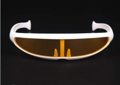 TECH-FUN X-Men Persönlichkeit Sonnenbrillen Laser Space Robot Siamese Mercury Lens Sonnenbrillen (White frame + yellow transparent)