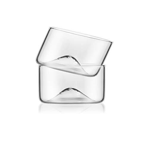 Neuheit Whisky Glass Wine Glasses Fine Dining Restaurant für Küche Bier Gläser Funny Spirit Glas Kleine Glastassen Tee Mit Holzhalter A, 120ml