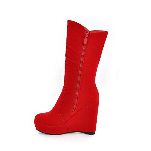 VogueZone009 Damen Eingelegt Reißverschluss Rund Zehe Hoher Absatz Stiefel mit Anhänger, Weinrot, 42