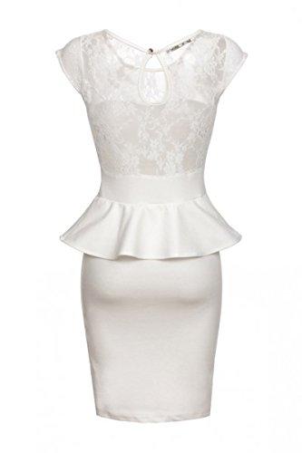 Laeticia Dreams–Vestito da sera con pizzo XS S M L XL Bianco
