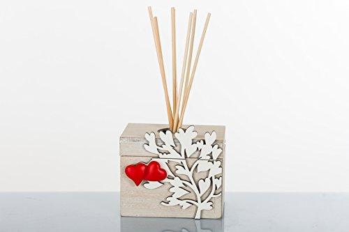 Cuorematto bomboniere solidali 2018 scatola profumatore in legno con albero della vita e cuoricini rossi a magnete dim. 9x6,5